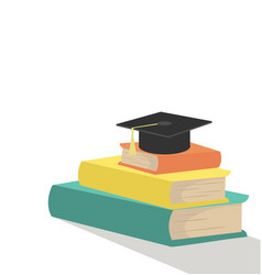 stack of books with graduation cap vector image
