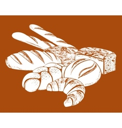 still life with bread vector image vector image