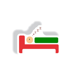 Stylish icon in paper sticker style man sleeps vector
