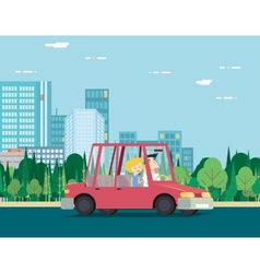 Summer Day Nature Vacation Couple Car Travel vector image