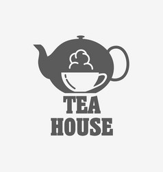Tea house logo or label design template with tea vector