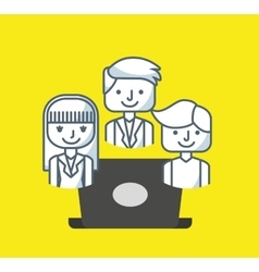 Teamwork office computer icon vector