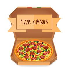 The real pizza diabola italian pizza in box vector