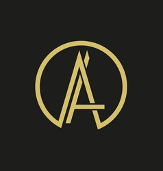 Thin lines elegant letter a logo vector