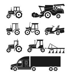 Tractors and combine harvesters icons set vector image