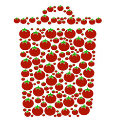 Trash bin composition of tomato vector