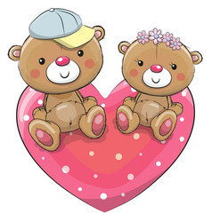 Two teddy bears on a heart vector