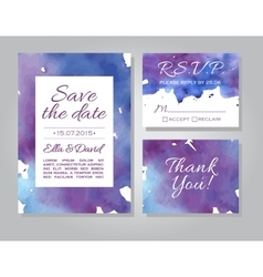 wedding invitation card set with watercolor vector image