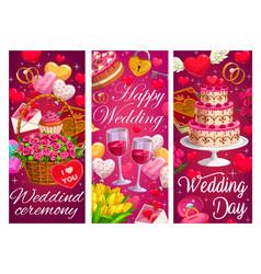 Wedding marriage ceremony cartoon banners vector