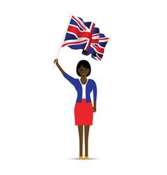 woman waving the uk flag vector image
