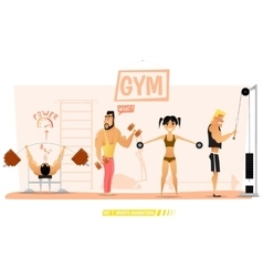 Young people are engaged in body building vector