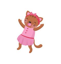 adorable humanized kitten wearing pink dress and vector image
