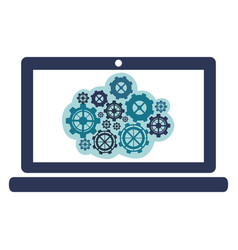blue gear in the laptop icon vector image
