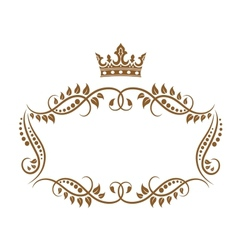 Elegant royal medieval frame with crown vector