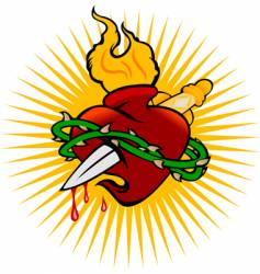 fire heart and knife vector image vector image