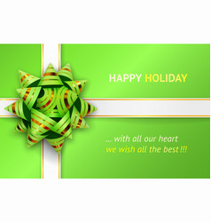 green bow and white ribbons vector image vector image