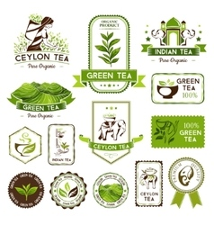 Green indian and ceylon tea labels vector image vector image