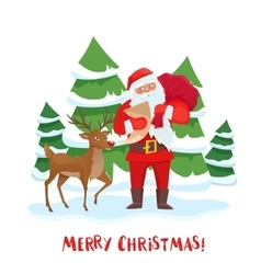 Santa Claus and reindeer Christmas tree vector image