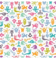 Seamless colorful print with funny monsters vector image
