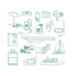 Tourism line art icon set vector image