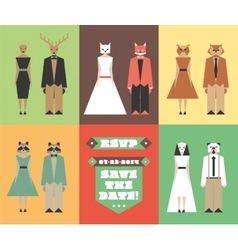 Wedding invitation figures with animal heads vector image vector image