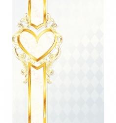 gold heart emblem vector image