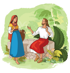 jesus and the samaritan woman at the well vector image