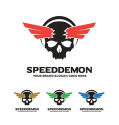 Skull wing logo speed demon logo vector