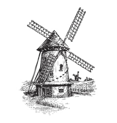 Windmill Hand drawn vintage sketch vector image vector image