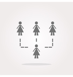 icon button with network of woman inside vector image vector image