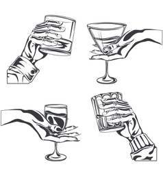 Male female hand holding glass alcohol drink vector