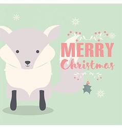 Merry christmas postcard with cute polar fox vector