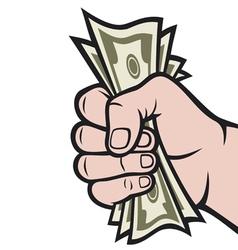 money in hand vector image vector image