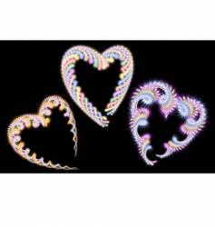 three fur color hearts vector image vector image