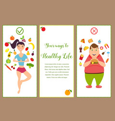 Banners with healthy food and fast food vector