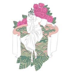 beautiful fashion woman with flowers in retro vector image