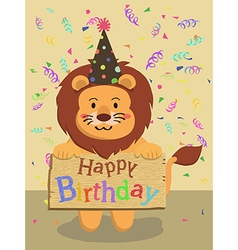 Birthday Lion Cartoon vector