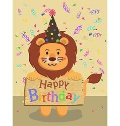 Birthday Lion Cartoon vector image