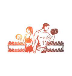 Bodybuilders couple working out in gym vector