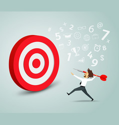 Businessman trying to hit a target with a dart vector