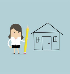 businesswoman drawing house plan by pencil vector image