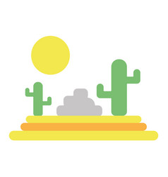 Cactus with sun natural aventure vector
