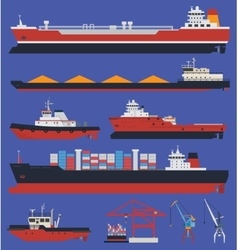 Cargo ships infographic vector image
