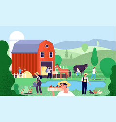 cartoon farm with farmers agricultural workers vector image