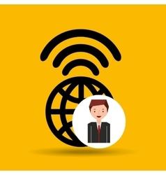 Cartoon man global connected wifi vector