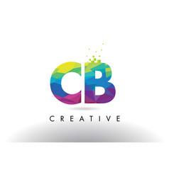 Cb c b colorful letter origami triangles design vector