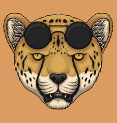 Cheetah head eyeglasses vector