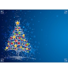Christmas tree on the blue background vector