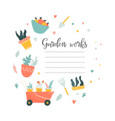 circle of garden tools and text place vector image