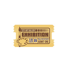 City art gallery exhibition isolated retro ticket vector